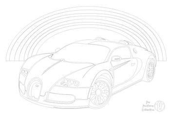 A Bugatti Vayron and rainbow picture to colour in with Fun Furniture Collection, home of theme beds, toy boxes and storage