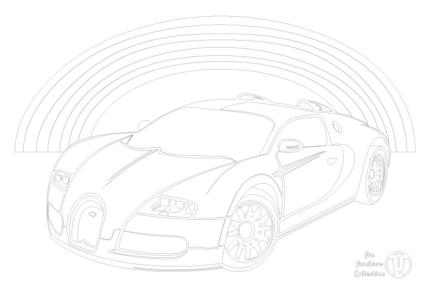 Bugatti Vayron and rainbow picture to colour in by Fun Furniture Collection, home of theme beds, storage and toy boxes