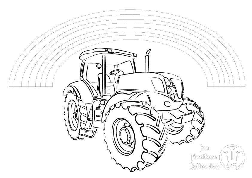Tractor and rainbow picture to colour in by Fun Furniture Collection, home of theme beds, storage and toy boxes