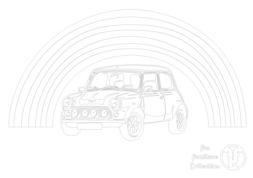 Mini Cooper picture to colour in by Fun Furniture Collection, home of theme beds, storage and toy boxes