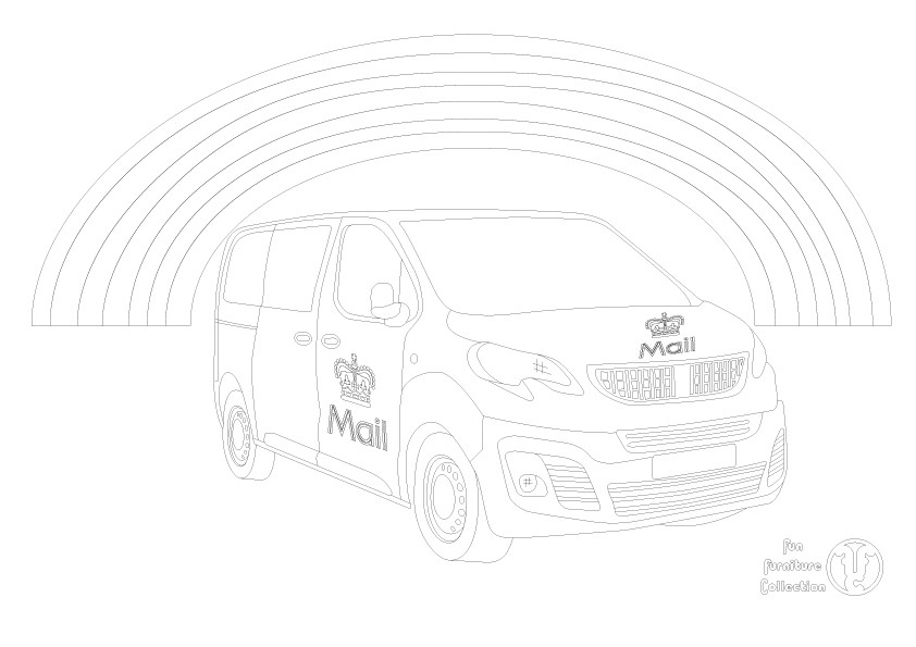 Post office van  and rainbow picture to colour in by Fun Furniture Collection, home of theme beds, storage and toy boxes