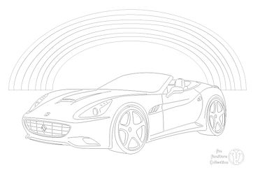 Ferrari with ranbow picture to colour in with Fun Furniture Collection, home of theme beds, storage and toy boxes
