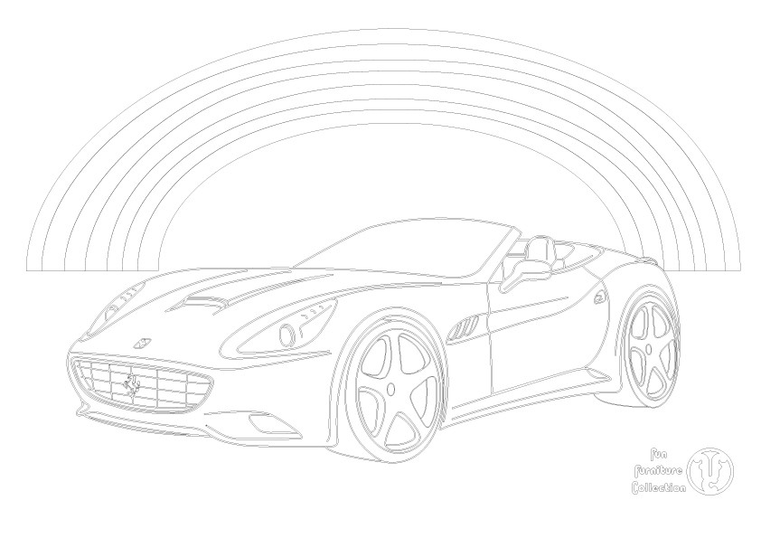 Ferrari and rainbow picture to colour in by Fun Furniture Collection, home of theme beds, storage and toy boxes