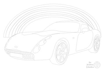 TVR Tuscan car and rainbow picture to colour in by Fun Furniture Collection, home of kids theme bed, toy boxes and storage.
