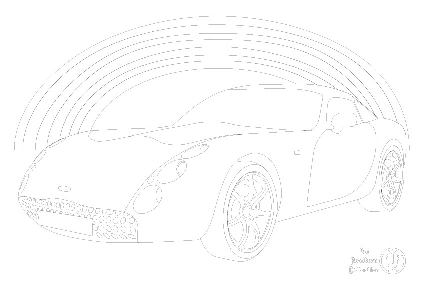 TVR Tulsan car and rainbow  picture to colour in by Fun Furniture Collection, home of theme beds, storage and toy boxes