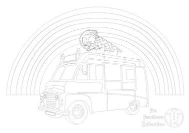 Ice cream Van picture to colour in by Fun Furniture Collection, home of theme beds, toy boxes and storage