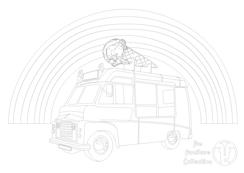 Ice cream van picture to colour in by Fun Furniture Collection, home of theme beds, storage and toy boxes