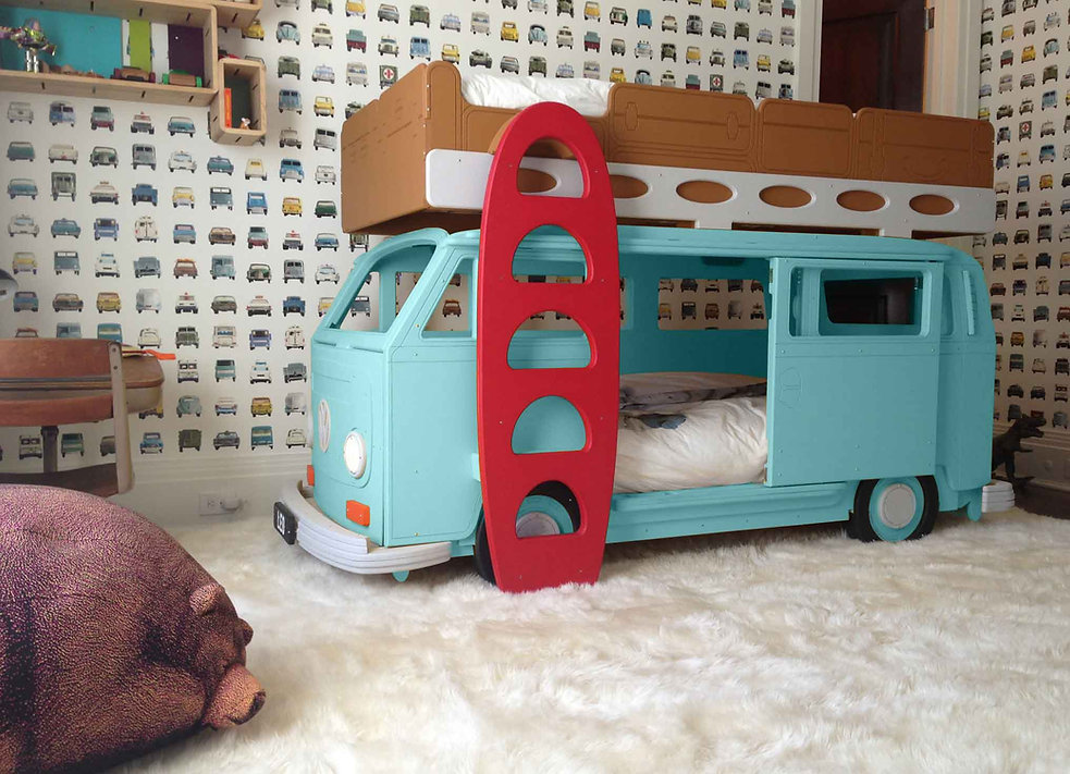 Bay Camper Van Childrens's Theme Bunk Bed in a client home in Califonia USA
