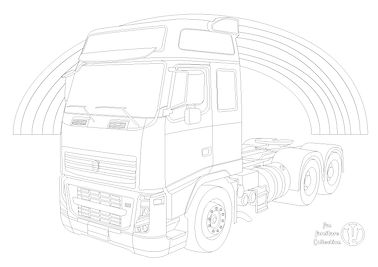 volvo FH truck with rainbow picture to colour in by Fun Furniture Collection, home of kids theme bed, storage and toy chests