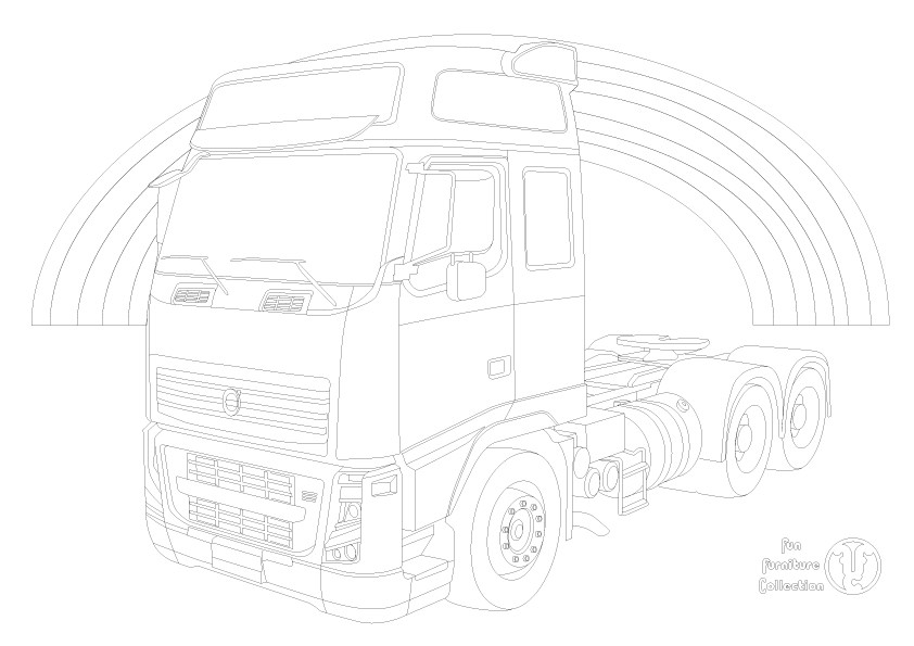 Volvo FH truck and rainbow picture to colour in by Fun Furniture Collection, home of kids theme beds, storage and toy boxes