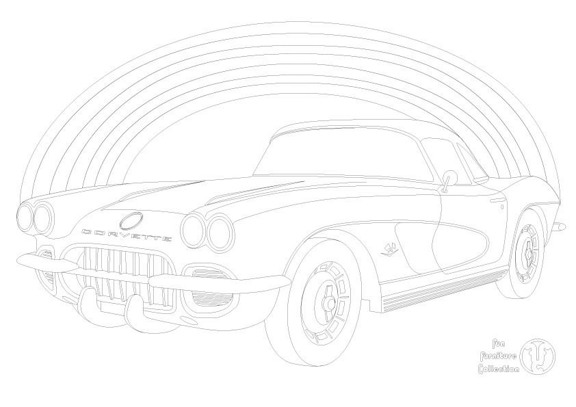Chevrolet Corvette 1962 car and rainbow picture to colour in by Fun Furniture Collection, home of theme beds, storage and toy boxes