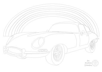 E type jaguar coupe 1961 car and rainbow picture to colour in by Fun Furniture Collection, home of kids theme beds, toy boxes and storage.jpg