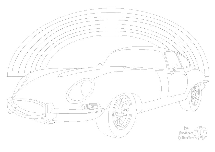 E type Jaguar Coupe car and rainbow picture to colour in by Fun Furniture Collection, home of theme beds, storage and toy boxes