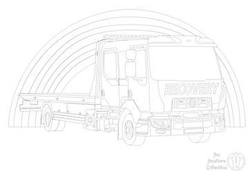 Recovery truck picture to colour in by Fun Furniture Collection, home of theme beds, storage and toy boxes