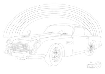 Aston Martin DB5 car and rainbow picture to color in with Fun Furniture Collection, home of kids theme beds, toy boxes and storage .jpg