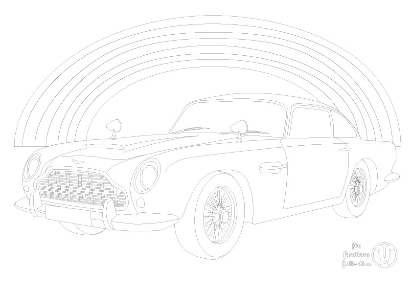 Aston Martin DB5 car and rainbow  picture to colour in by Fun Furniture Collection, home of theme beds, storage and toy boxes
