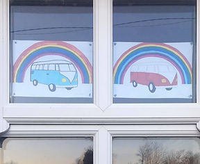 Split Screen Camper Van and rainbow picture coloured in by children, Picture by Fun Furnitre Collection, home of theme beds, toy boxes and storage