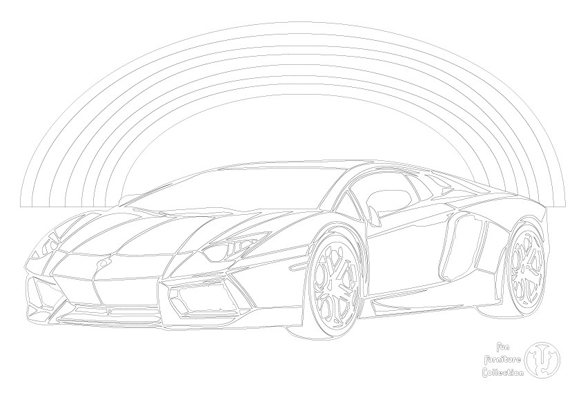 Lamborghini and rainbow picture to colour in by Fun Furniture Collection, home of theme beds, storage and toy boxes