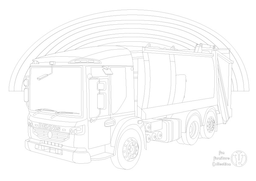 Dennis eagle refuse truck and rainbow  picture to colour in by Fun Furniture Collection, home of theme beds, storage and toy boxes