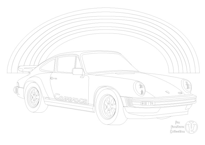 Porsche 911 car and rainbow picture to colour in by Fun Furniture Collection, home of theme beds, storage and toy boxes