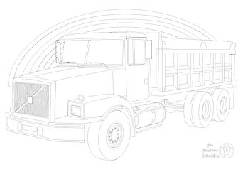 Volvo dump truck and rainbow picture to colour in with Fun Furniture Collection, home of theme kids beds, toy boxes and storage