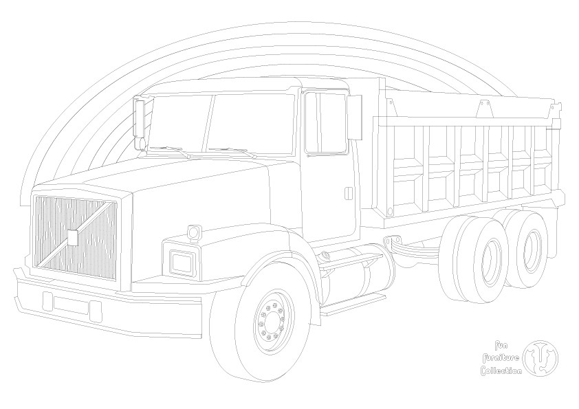 Volvo Dump truck and rainbow picture to colour in by Fun Furniture Collection, home of theme beds, storage and toy boxes