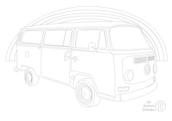VW Bay Camper Van picture and rainbow to colour in by Fun Furniture Collection, home of theme beds, toy boxes and storage