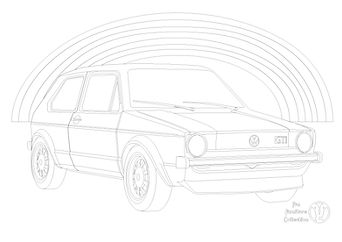 VW golf GTI and rainbow picture to colour in by Fun Furniture Collection, home of theme beds, storage and toy boxes,