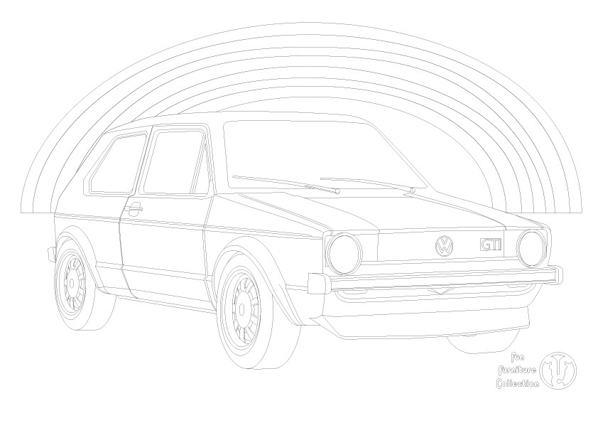 Golf GTI and rainbow picture to colour in by Fun Furniture Collection, home of theme beds, storage and toy boxes
