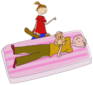 Cartoon img showing Fun furniture Collection mattress fits a full size adult as well as children to read bed time tories as all our beds fit a standard single mattress.