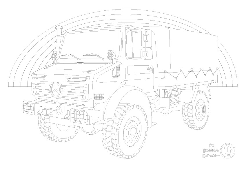mercedes unimog and rainbow  picture to colour in by Fun Furniture Collection, home of theme beds, storage and toy boxes
