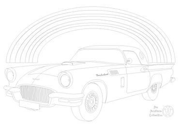 Ford Thunderbird (1957) car and rainbow picture to colour in by Fun Furniture Collection, home of kids themed beds, toy boxes and storage