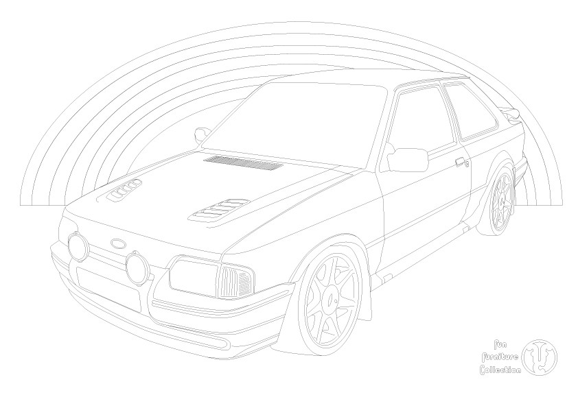Ford Escort RS Turbo car and rainbow picture to colour in by Fun Furniture Collection, home of theme beds, storage and toy boxes