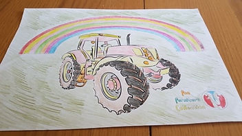 tractor and rainbow picture coloured in by Marcus Fountain, picture created by Fun Furniture Collection, home of kids theme beds, toy boxes and storage