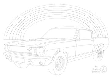 Ford Mustang Mk1 350GT (1966) car and rainbow picture to colour in with Fun Furniture Collection, home of kids theme beds, toy boxes and storage.