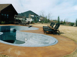decorative stained concrete pool deck