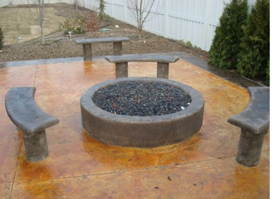 Eagle decorative stained concrete patio