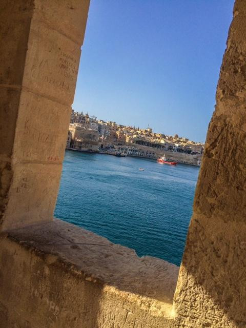 View of Grand Harbour from inside Guard Tower at Il Gardjola Gardens Senglea Three Cities