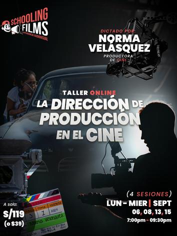 Flyer - Taller La Dirección de Producción en el Cine - El rol  del jefe de producción - Sc