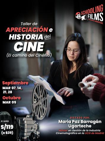 Flyer - Taller de Apreciación cinematográfica - Dictado por Maria Paz Barragán - en Schooling Films