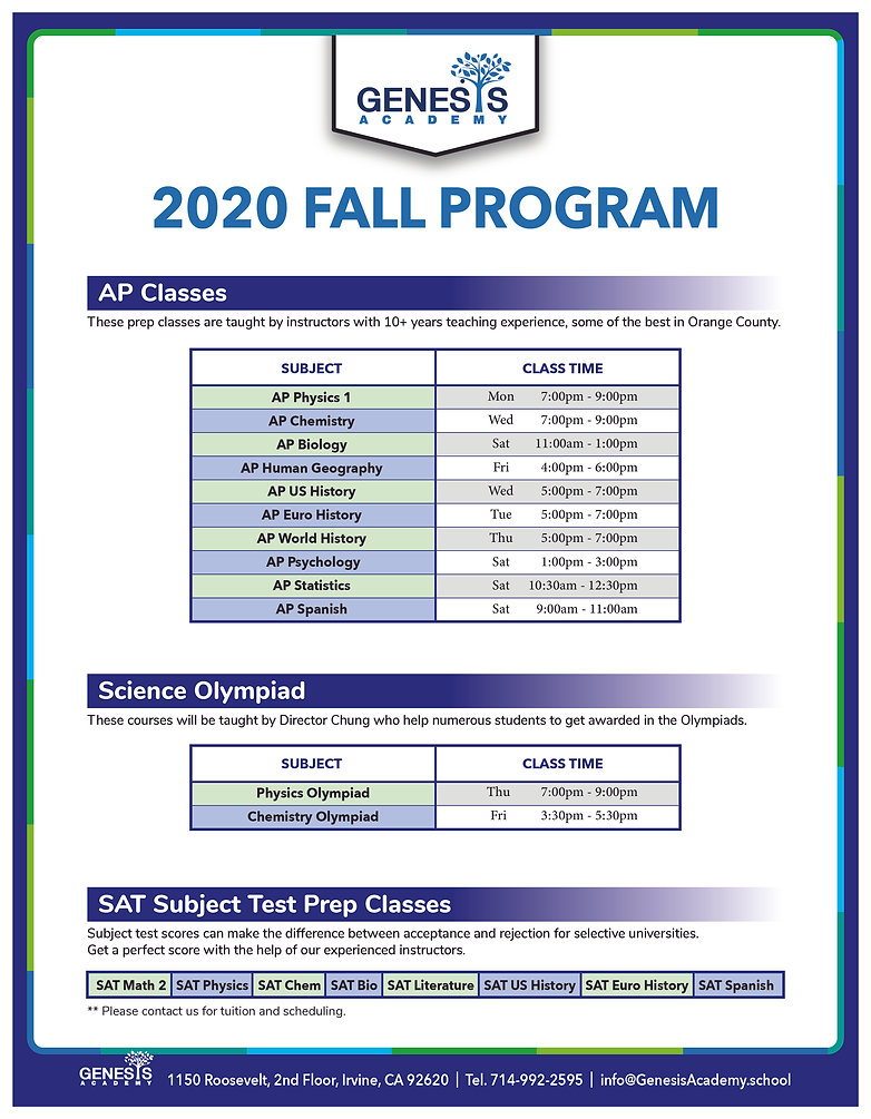 081920-Genesis2020 Fall-without Tuition-