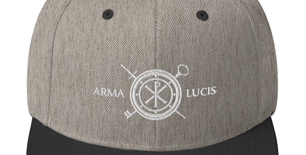 Arma Lucis / Armor of Light Snapback Hat - White 3D Puff