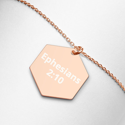 "Engraved Hexagon Necklace ""Ephesians 2:10"""