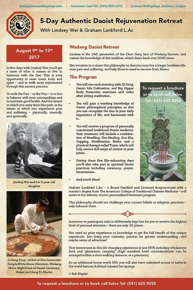 August 9-13th 5 Day Authentic Daoist Rejuvenation Retreat