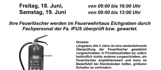 Feuerlöscherüberprüfung 18.-19. Juni
