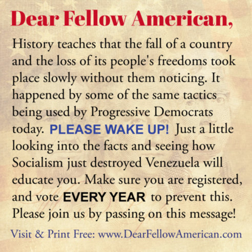 """(Updated 2nd Print) Pack of 100 """"Dear Fellow American"""" 3"""" x 3"""" Sq. Tracts/Cards"""