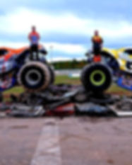 Monster Trucks crushing cars at the Centre for Speed