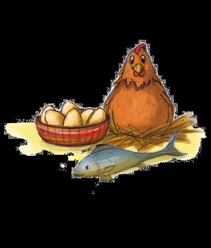 Geflügel und Fisch