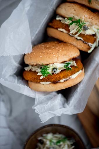 Vegan visburger coleslaw- Milou van der