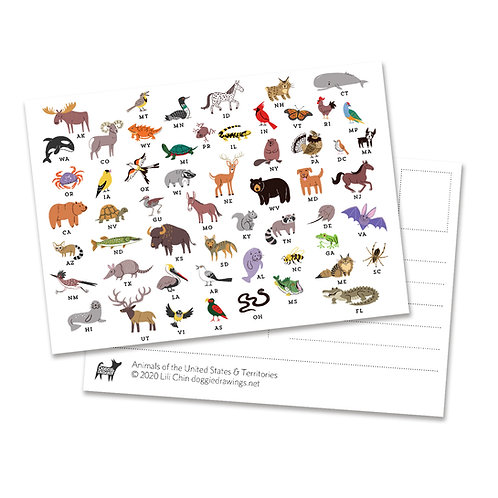 Animals of the United States & Territories postcards - set of 5